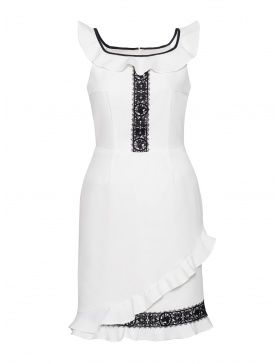 Alessandra White Mini Dress with Lace and Ruffles