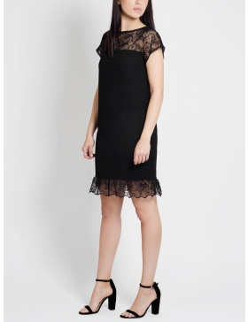 Carrie Black dress with Lace Ruffles