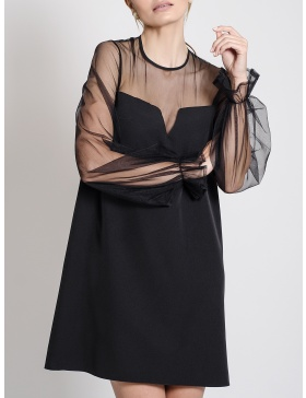 Esther Mini Dress with Geometric Neckline and Puffed Sleeves