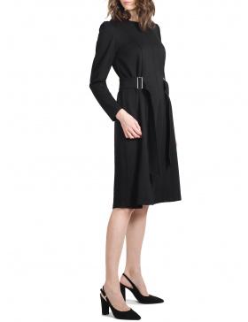 Charlize Black Dress waist belt and metallic buckle