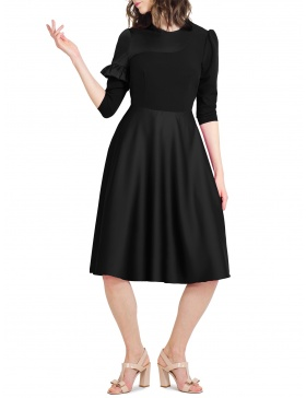Izabel Back Dress Assymetric design and Ruffle at Sleeve