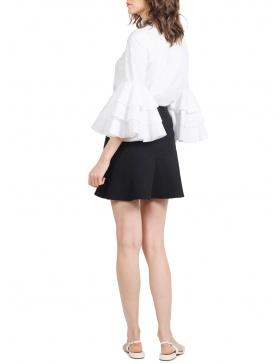 Brigitte Black Mini Skirt with Assymetric Ruffle