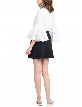 Demi White and Liilac Shirt with voluminous Ruffles and  Black Ribbon