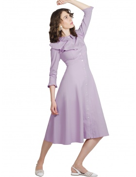 Geena Lilac Dress with Buttons at Front and Ruffles