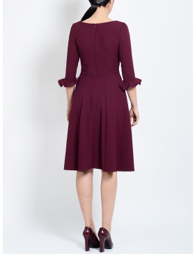 Valerie Burgundy Circle Dress with Side Pockets and Ruffled Sleeves