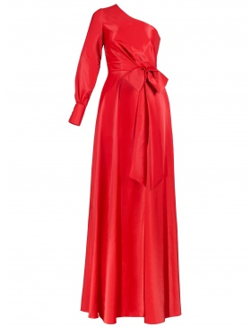 Juliet Bow-Embellished Red Maxi Dress with Slit