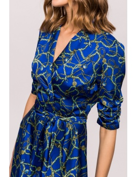 Flare printed dress with waist band