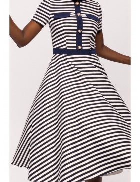 Navy stripe cloche dress
