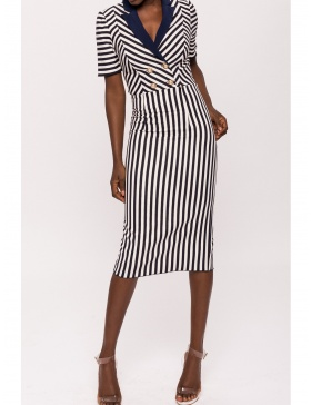 Navy stripe dress with contrast lapel