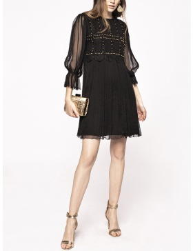 Metallic applique silk dress