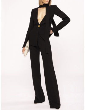 Tie neck suit jacket