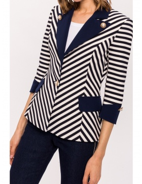 Navy stripe blazer with contrast lapel