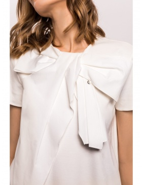 Viscose loose top with oversize bow