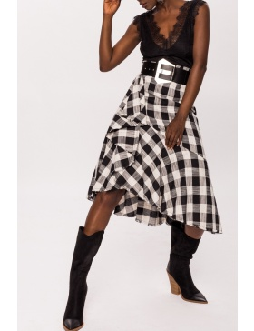 Plaid side ruffle asymmetric skirt