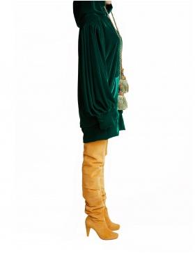 Velvet Hoodie in Dark Emerald