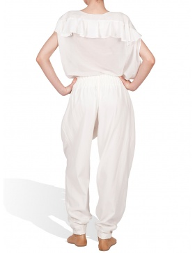 Loose trousers with quilted crem basque