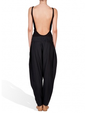 Loose trousers with quilted basque
