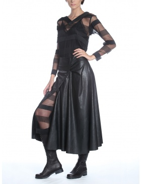 Leather skirt with asymmetrical zipper