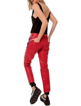 MARLOWE RED LEATHER PANTS