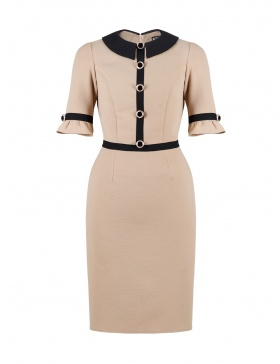 Nicolette Beige Dress with collar and ruffled sleeves