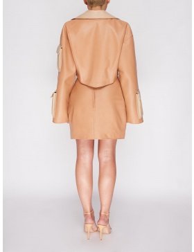 Carina cream short leather jacket