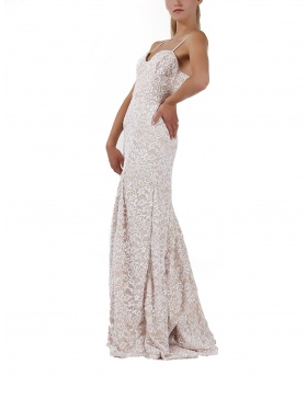 White lace dress with long train and bustle