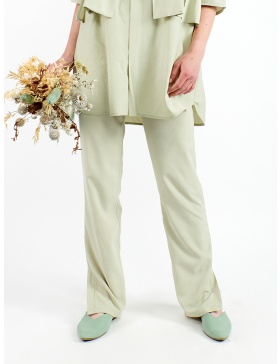 Pastel green trousers