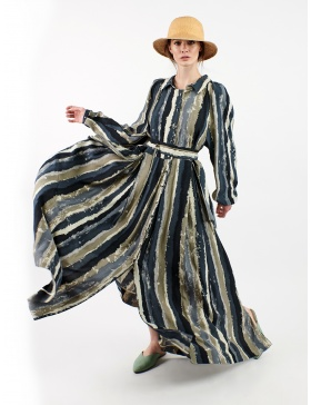 Viscose maxi dress with pictorial print
