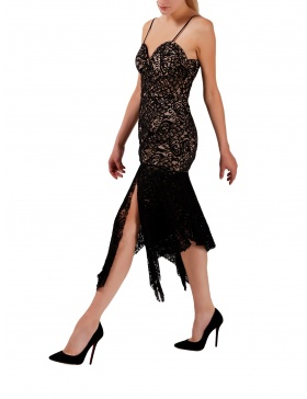 Black lace dress with asymmetric panels