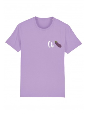 O. eggplant T-shirt - white writing