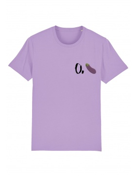 O. eggplant T-shirt - black writing