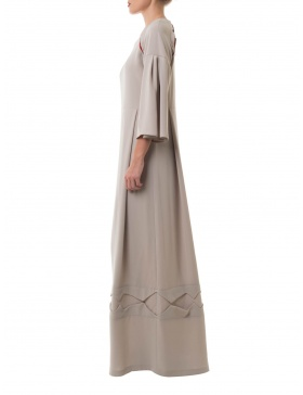 Long grey dress with traditional cutouts details
