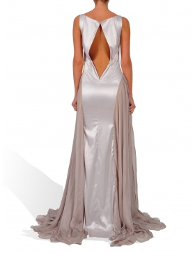 Silver long dress with gold jerse details