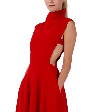 Red turtleneck dress with lateral detail