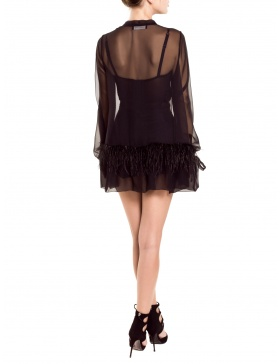 Blouse with ostrich feathers