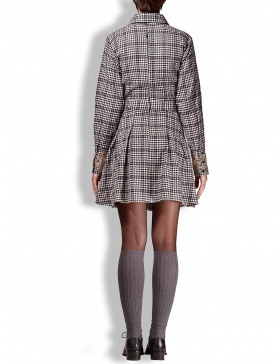 Dress in black and white plaid