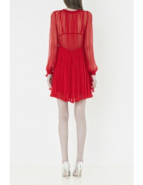 Mini red dress made from crinkled silk-chiffon