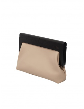 Beige and black clutch