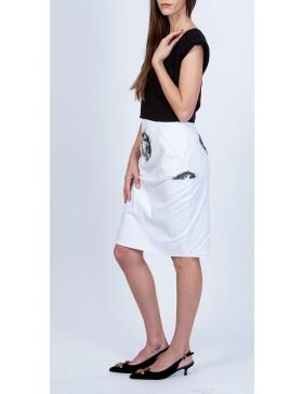 Poplin pencil skirt