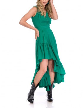 GREEN ASIMETRIC DRESS