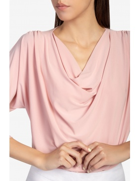 Draped open-sleeve crepe top
