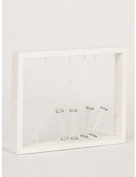 White frame with test tubes for flowers
