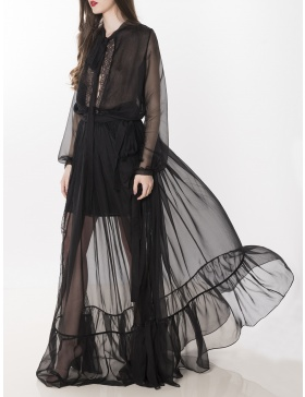 Silk-Chiffon Gown with Lace Panels