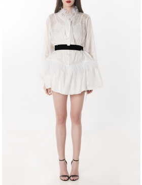 Ostrich Feathers and Lace Silk Chiffon Blouse