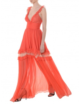 Lynette ruffled lace-trimmed silk-georgette maxi dress