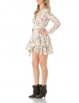 Floral print mini wrap dress