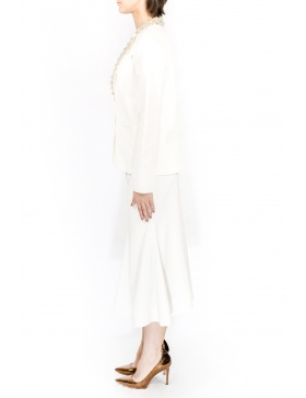 White blazer with embroided lapels