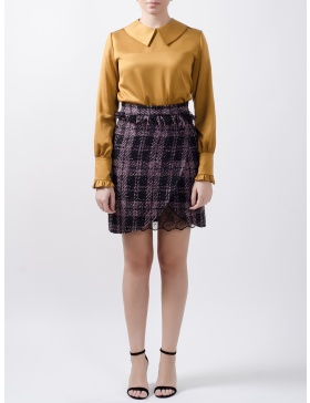 Meghan Mini Skirt cut from Checked Felt with Lace