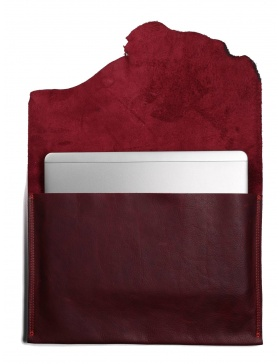 Leather laptop sleeve - bordo