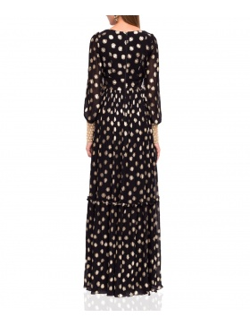Maxi elegant dress with golden print